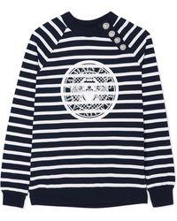 Balmain | Printed Striped Cotton-jersey Sweatshirt | Lyst