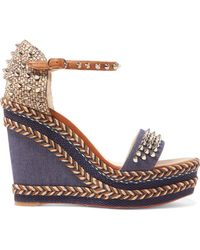 dd9f456c68dc Christian Louboutin - Madmonica 110 Spiked Denim And Leather Espadrille  Wedge Sandals - Lyst