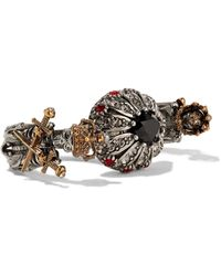 Alexander McQueen | Silver And Gold-plated, Swarovski Crystal And Faux Pearl Two-finger Ring | Lyst