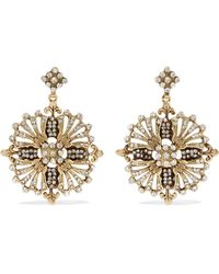Etro - Gold-tone Crystal Earrings - Lyst