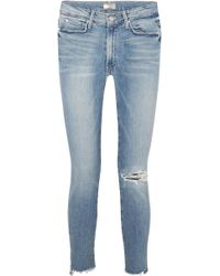 Mother - The Stunner Distressed High-rise Stretch Skinny Jeans - Lyst