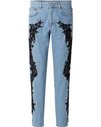 Moschino - Lace-appliquéd And Crystal-embellished Boyfriend Jeans - Lyst