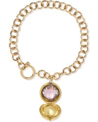 Larkspur & Hawk - Lady Antoinette 14-karat Gold And Rhodium-dipped Quartz Charm Bracelet - Lyst