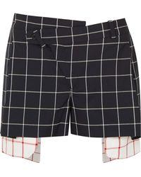 Monse - Asymmetric Layered Checked Wool-crepe Shorts - Lyst