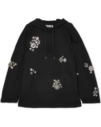 McQ - Crystal-embellished Cotton-jersey Hooded Sweatshirt - Lyst