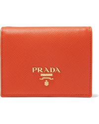 Prada - Small Logo Plaque Wallet - Lyst