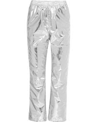 MM6 by Maison Martin Margiela - Metallic Coated-shell Track Trousers - Lyst