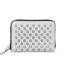 Christian Louboutin - Panettone Spiked Glittered Metallic Leather Wallet - Lyst