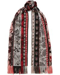 Alexander McQueen - Fringed Organza And Jacquard Scarf - Lyst