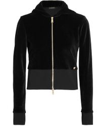 Versace | Cropped Velour Hooded Jacket | Lyst