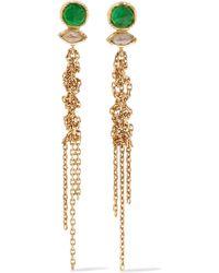 Brooke Gregson - Waterfall 18-karat Gold, Emerald And Diamond Earrings - Lyst