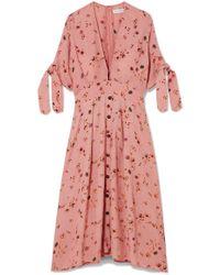 Faithfull The Brand - Nina Floral-print Crinkled-crepe Midi Dress - Lyst