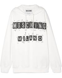Moschino - Embellished Cotton-jersey Hoodie - Lyst