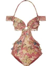 Zimmermann - Melody Off-the-shoulder Ruffled Floral-print Swimsuit - Lyst