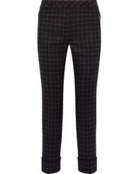 Akris - Checked Wool-flannel Straight-leg Pants - Lyst
