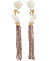 Of Rare Origin - Forget Me Not Gold Vermeil, Mother-of-pearl And Moonstone Earrings - Lyst