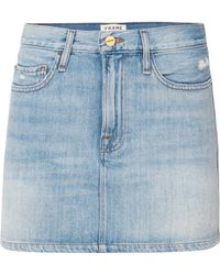 FRAME - Le Mini Distressed Denim Skirt - Lyst