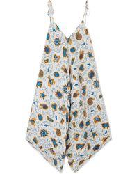 Loewe - + Paula's Ibiza Asymmetric Printed Crepon Dress - Lyst