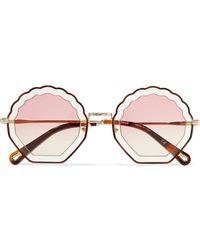 3e64e12b6cb Chloé - Scalloped Round-frame Gold-tone And Tortoiseshell Acetate Sunglasses  - Lyst
