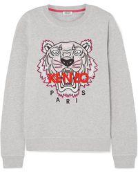 KENZO - Embroidered Mélange Cotton-jersey Sweatshirt - Lyst