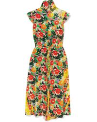 Prada - Floral-print Silk-crepe Midi Dress - Lyst