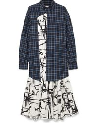 Balenciaga - Layered Silk-jacquard And Checked Cotton Dress - Lyst