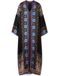 Etro | Embroidered Printed Silk-satin Kaftan | Lyst