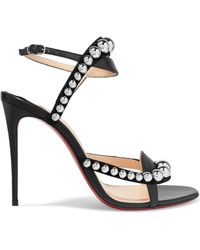 Christian Louboutin - Galeria 100 Studded Suede And Leather Sandals - Lyst