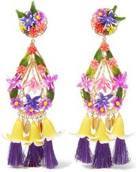Mercedes Salazar - Tasselled Gold-plated And Resin Clip Earrings - Lyst
