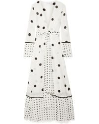 We Are Leone - Polka-dot Silk Crepe De Chine Robe - Lyst