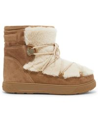 Moncler - New Fanny Shearling-paneled Suede Snow Boots - Lyst