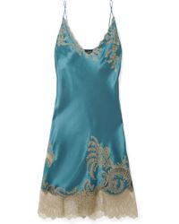 Carine Gilson - Chantilly Lace-trimmed Silk-satin Chemise - Lyst