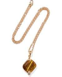 Pomellato - Ritratto 18-karat Rose Gold, Tiger Eye And Diamond Necklace Rose Gold One Size - Lyst
