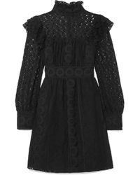Anna Sui - Woman Ruffled Embroidered Cotton-blend Tulle And Guipure Lace Mini Dress Black Size 2 - Lyst