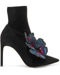 Sophia Webster - 'riva' Butterfly Appliqué Stretch Suede Ankle Boots - Lyst