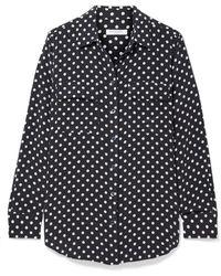 Equipment - Slim Signature Polka-dot Washed-silk Shirt - Lyst