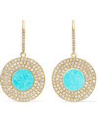 Jennifer Meyer | 18-karat Gold, Turquoise And Diamond Earrings | Lyst