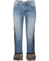 Johanna Ortiz - Petra Feather-trimmed Embellished Boyfriend Jeans - Lyst