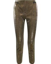 Karl Lagerfeld - Cropped Cotton-blend Lamé Slim-leg Pants - Lyst