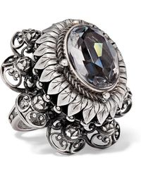 Alexander McQueen - Silver-tone And Crystal Ring Silver 15 - Lyst
