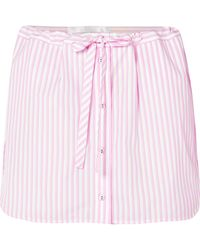 Victoria, Victoria Beckham - Layered Striped Cotton Shorts - Lyst