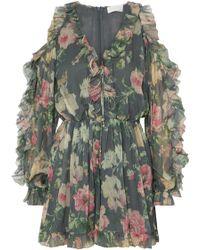 Zimmermann - Iris Cold-shoulder Floral-print Silk-georgette Playsuit - Lyst
