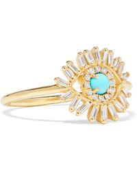 Suzanne Kalan - Yellow Gold And Diamond Evil Eye Ring - Lyst
