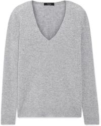 24997675ead Theory Twylina Split-back Ribbed Cashmere Sweater in Gray - Lyst