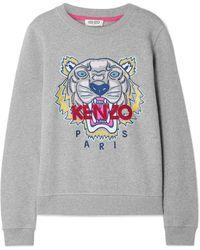 KENZO - Grey Tiger-emboridered Cotton Sweatshirt - Lyst