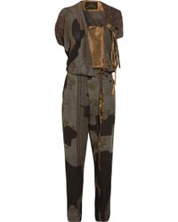 Vivienne Westwood Anglomania - Latifa Draped Printed Crepe And Polka-dot Satin Jumpsuit - Lyst