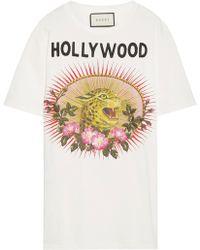 Gucci - Appliquéd Printed Cotton-jersey T-shirt - Lyst