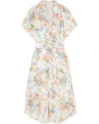 0f93c62087 Lyst - Akris Linen And Wool-blend Midi Dress in Natural