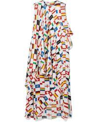 22163559dc3 Balenciaga - Layered Ruffled Printed Silk-satin Jacquard Dress - Lyst