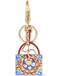 Dolce & Gabbana - Gold-plated, Leather And Printed Resin Keychain - Lyst